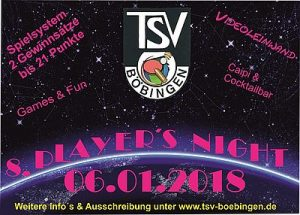 Flyer TSV Böbingen Players Night 2018